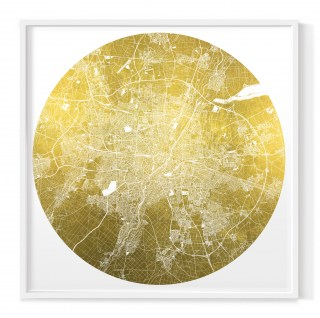Mappa Mundi Munich - White UV treated ink on 24 carat gold leaf dibond